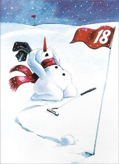 Witzig! Der Schneemann regt sich auf, weil er keinen Treffer hat #kgc #golf #winter #wintergolf #schnee #schneemann #snowman