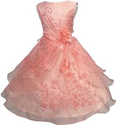 Toddler Little/Big Girls Embroidered Beaded Flower Girl Flower Girl Birthday Party Cosplay Dress-Up with Petticoat Girls Formal Dresses, Gowns For Girls, Wedding Dresses For Girls, Cute Summer Dresses, Girls Party Dress, Day Dresses, Occasion Dresses, Prom Dresses, Peach Flower Girl Dress
