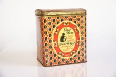 Vintage rustic black cat coffee tin rustic kitchen by hipposdream, €22.00