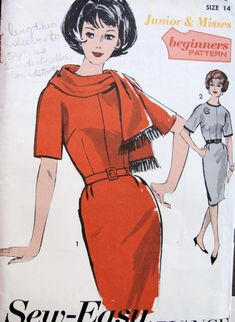1960s MAD MEN SLIM DRESS, SCARF BEGINNERS PATTERN  SEW EASY ADVANCE PATTERNS 3014