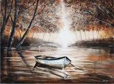 The Canoe 36x48 Canoe, Waterfall, Original Art, Wall Art, The Originals, Painting, Outdoor, Home Decor, Collection