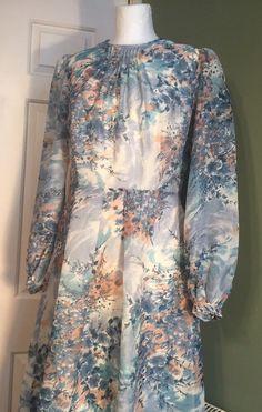 Vintage French Robilyse 1970s Nylon Dress Retro Full Statement Sleeves 10 Retro