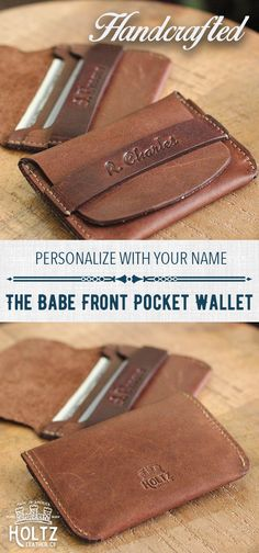 $35 - UNIQUE GROOMSMEN GIFTS - No. 7 Babe Ruth Front Pocket Wallet - HANDCRAFTED - PERSONALIZED - AMERICAN MADE - FAMILY OWNED! Know the hands and the family that make the products you use - The Holtz Family