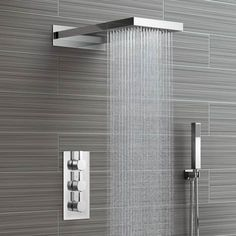 220mm Waterfall & Rainfall Wall Mounted Shower Head & Thermostatic Mixer - 3 Way - soak.com