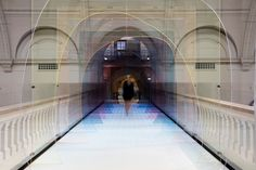 Designers Laetitia de Allegri and Matteo Fogale have teamed up with UK tile manufacturer Johnson Tiles to create Mise-en-abyme, a colourful and immersive installation for the bridge over the Medieval and Renaissance galleries in the Victoria and Albert Museum.