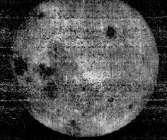 <b>The Far Side of the Moon, 1959</b>; Captured by the Luna 3 space craft, this image is the first views ever of the far side of the moon.