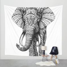 Ornate Elephant Wall Tapestry by BIOWORKZ | Society6