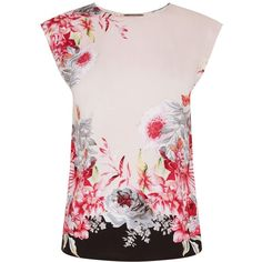 Oasis Evie Tropical Placement Tee (59 CAD) ❤ liked on Polyvore featuring tops, t-shirts, women, pink floral top, floral top, flower print top, floral t shirt and floral graphic tees