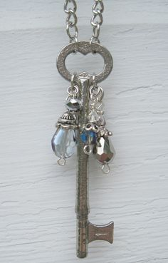 Hint of Blue Skeleton Key Dangle Necklace. $32.00, via Etsy. See it in person at the Oct 6th #HoneyCraft Indie Craft Market in #Woodstock