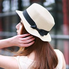 Large Brimmed Black Bow Straw Hat - White