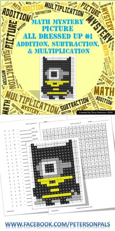 This little guy is all dressed up. It could be used for any occasion, but it's perfect for Halloween! It has four different levels (color by number, addition, subtraction & multiplication). Teaching 5th Grade, 4th Grade Math, Teaching Math, Maths, Third Grade, Teaching Ideas, Math Subtraction, Multiplication, Math Addition