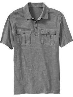 Mens Slub-Knit Double-Pocket Polos | Old Navy