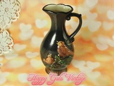 Vintage Black Pitcher Vase, Black Decorative Pitcher with Embossed Birds, Hand Painted Bird Pitcher, Gift for Bird Lover, Black Vase Gift