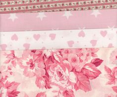 British Cotton  Fabric Scrap Pack  Pinks  9x11 by MissElany, $4.95