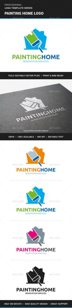 Painting Home Logo Template #design #logotype Download: http://graphicriver.net/item/painting-home-logo-template/13063638?ref=ksioks