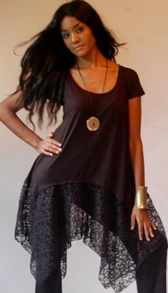 BLACK/BLOUSE-TOP-M L 1X 2X-LACE-ASYM 'MADE 2 ORDER' LAGENLOOK-LOTUSTRADERS