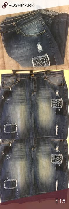 Distressed Patchwork Denim Skirt💕 This is a very trendy denim skirt with some stretch. As you can see cute details in pictures front and back. 19 inches waist laying flat and 23 inches long. Skirts