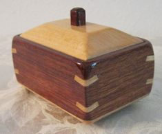 Decorative wooden box made of bubinga and maple by artyswoodshop. Hand made in the U.S.A. I think this one is my favorite :)