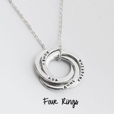 Mother Necklace/ Mommy Necklace/ Mother Jewelry/ Mother Gift/ Russian Ring Necklace with Children Names in Sterling Silver