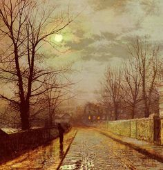 Paintings Reproductions Grimshaw, John Atkinson Lane In Cheshire, 1883