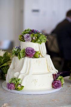green/purple on cake