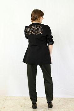Vintage 80s Black Lace Oversized Boyfriend Jacket by tomacrafts, €32.00