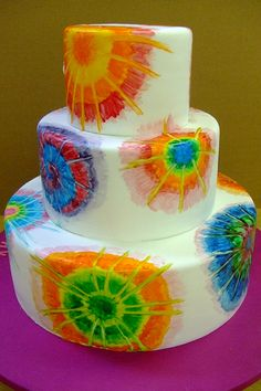 A tie dye cake fit for a tie dye wedding! by Brooke Weeber Pretty Cakes, Beautiful Cakes, Amazing Cakes, Cupcakes, Cupcake Cookies, Tye Dye Cake, Hippie Cake, Tie Dye Party, Painted Cakes
