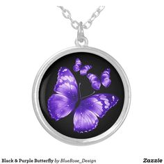 Black & Purple Butterfly Silver Plated Necklace Purple Butterfly, Black Felt, Christmas Card Holders, Colorful Backgrounds, Silver Plate, Plating, Accessories, Jewelry, Schmuck