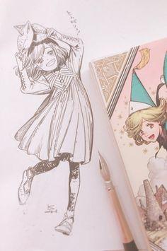 Tongariboushi No Atelier Sweet Drawings, Art Drawings, Cartoon Sketches, Art Sketches, Character Illustration, Illustration Art, Art Reference Poses, Dragon Art, Comic Artist