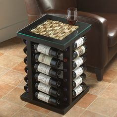 Wine Rack End Table with Cork Kit Top - Wine Enthusiast