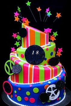 Neon Cake Stand Small Neon Products And Coral - Neon birthday party cakes
