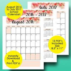 School Planner 2016-2017 Teacher Planner Printable, 2016-2017 Monthly Planner…