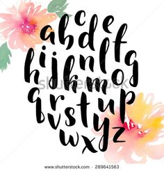 Hand drawn alphabet. Ink hand lettering. Modern calligraphy. Hand painted abstract watercolor flowers.