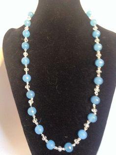Collana agata azzurra con cristallo e filo in argento 925/1000 di Oro18 su Etsy