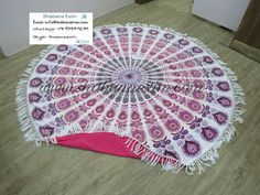 Hand knotted tassels round beach towels mandala printed terry towels