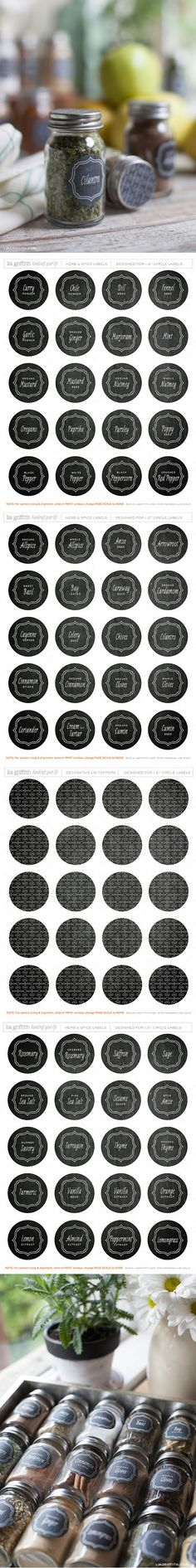 Free Printable Round Herb Spice Labels - used these today to spruce up my spice bottles - these are so cute with their faux-chalkboard paint look! This set has one of the biggest varieties of spice names that I've seen in a free set!