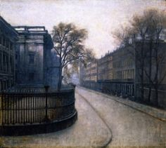 Vilhelm Hammershøi, Montague Street in London, 1906, Oil on cardboard, 57 x 64 cm, Ny Carlsberg Glyptotek, Copenhagen