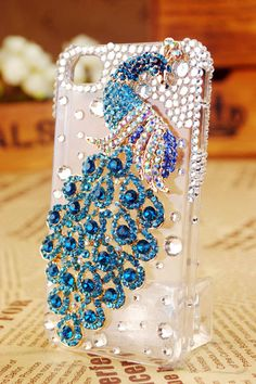FREE SHIPPING Best iphone 4S 4G case blue peacock clear cover rhinestone bling crystals for girls