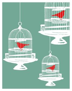 Red birds in cages art PRINT HipHeart by Lori Ramotar via Etsy.