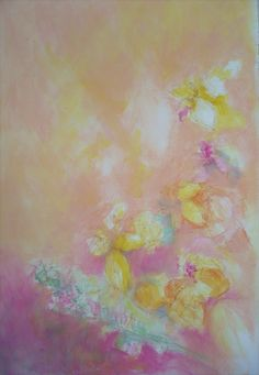 Flower in pink river.  acryl, pastel, paper