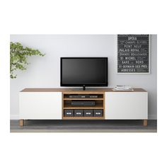 BESTÅ TV bench with drawers - oak effect/Lappviken white, drawer runner, soft-closing - IKEA