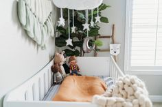 Baylor's Cozy + Neutral Nursery - Showit Blog Ikea Alseda, Highland Cow Pictures, Highland Cow Print, Sage Color, Stacking Toys, 4 Months, 30 Weeks, Wall Racks, Nursery Neutral