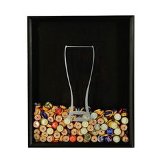 Bottle Cap Collector Shadow Box 16 by 20 black prismatic frame with black felt lining and wizen glass silohuette graphic applied to glass