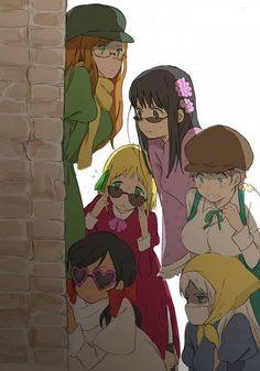 Hetalia Girls - (clockwise) Hungary, Taiwan, Ukraine, Belarus, Seychelles, Liechtenstein