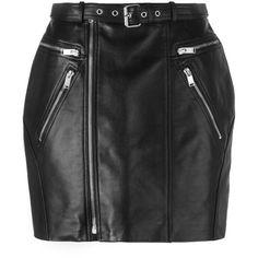 Saint Laurent zipped leather mini skirt ($2,830) ❤ liked on Polyvore featuring skirts, mini skirts, black, high-waist skirt, high waist skirt, short skirts, straight skirt and leather mini skirt