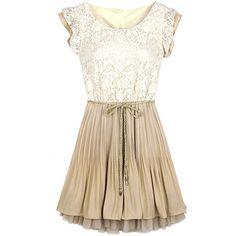 Lace Frill Sleeve Belt Chiffon Pleated Dress