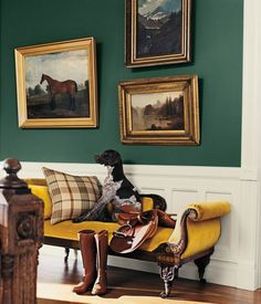 Windsor - Featured In Thoroughbred . . .     Find more: Green | Foyer | Hallway  . . .         Windsor -   RL1717,  Wall . . .        Polo Mallet White -   RL1051,  Wainscoting