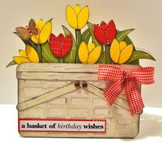 TULIP BASKET SHAPED CARD part of this weeks CYBER MONDAY SALE for 4/13/15