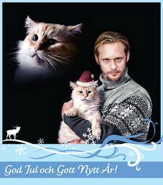 Alexander Skarsgard and cat.