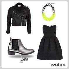 Srebrne sztyblety Wojas (4416/31), dziewczęca czarna sukienka i skórzana motocyklowa kurtka zdobiona modnym zamkiem to esencja glam rockowych stylizacji. Całość uzupełnia naszyjnik z neonowym akcentem. Must have sezonu!